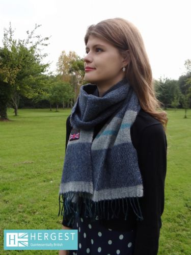 Pure Wool Steel Grey & Dusky Blue Scarf